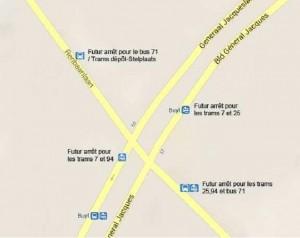Carrefour boulevard Général Jacques – Avenue A. Buyl – Avenue de l'hippodrome.  Nouvel emplacement des arrêts, tel que projeté.